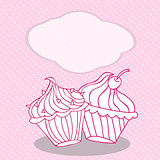 Vintage greeting card template with cupcake. For birthday, scrapbook.