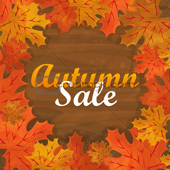 Autumn sale text banner with colorful seasonal fall leaves for shopping discount