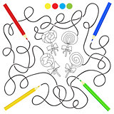 black and white cartoon candy lollipop - puzzle for kids