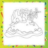 Outlined Cartoon Island With Palm Tree and rock