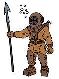 Vintage diver with a harpoon