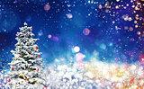 Christmas tree on a blue sparkly night sky