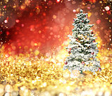 Christmas tree on a gold and red sparkly background