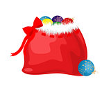 bag with gifts and balls for the new year. vector. isolate