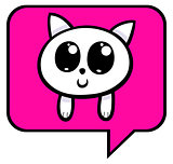cartoon kitten chat icon