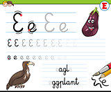 how to write letter E worksheet for kids