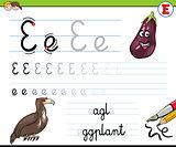 how to write letter E worksheet for kids