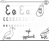 learn to write letter E workbook for kids