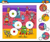 match pieces puzzle with robots