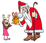 Santa Claus character with little girl