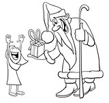 Santa Claus with little girl coloring page