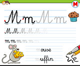 how to write letter M worksheet for kids