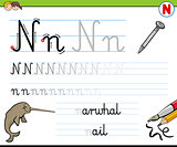 how to write letter N worksheet for kids