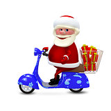 3D  Animation Santa on a Scooter with Gifts