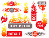 Hot price sale text labels flame design