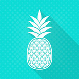 White vector pineapple flat icon turquoise