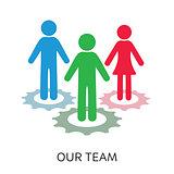 Vector our team icon gear wheels design