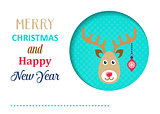Funny vector christmas card with reindeer