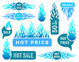 Hot price winter sale text labels