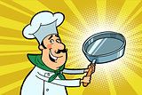 Chef cook character with a frying pan