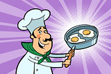 Chef cook character with fried eggs