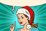 Santa woman pointing finger