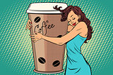 woman hugs coffee Cup