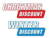 christmas and winter discount in two colors labels, flat design
