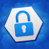 padlock sign in hexagon over blue background, flat design