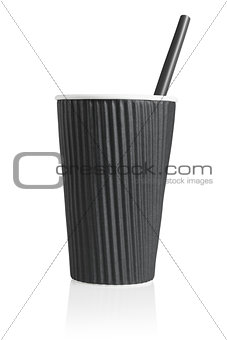 Black Paper Cup with Plastic Straw