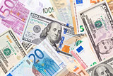 Background made of euros and dollars.