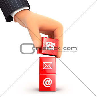 3d hand stacking three contact symbols