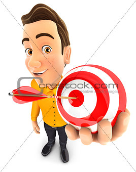 3d man holding a sphere target