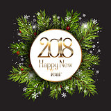 Happy New Year background with snowflakes and fir tree branches
