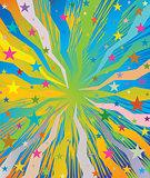 Celebratory burst background with stars