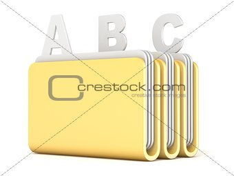 Three computer folders with ABC files 3D