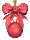 Red Christmas ball with ribbon and a bow 3D