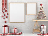 Mock up blank wooden picture frame, Christmas decoration and gif