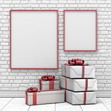 Mock up blank picture frame, Christmas decoration and gifts 3D