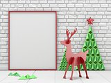 Mock up blank picture frame, Christmas decoration and reindeer w