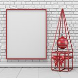 Mock up blank picture frame, Christmas decoration and wireframe