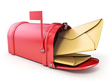Red mailbox and two yellow envelope 3D