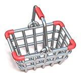 Steel wire shopping basket cartoon icon 3D