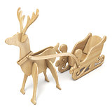 Wooden reindeer with sleigh 3D