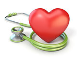 Medical stethoscope and red heart shape 3D