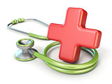 Medical stethoscope and red cross shape 3D