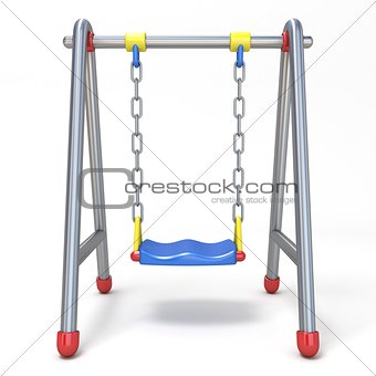 Single children swing front view 3D
