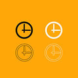 Clock black and white set icon.