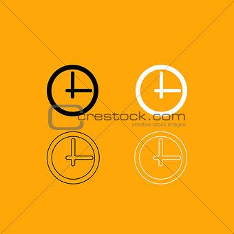 Clock black and white set icon.