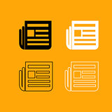 Newspaper black and white set icon.
